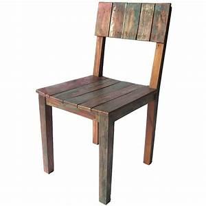 Chaise En Bois Massif : chaise bois couleur en teck recycl color ~ Teatrodelosmanantiales.com Idées de Décoration