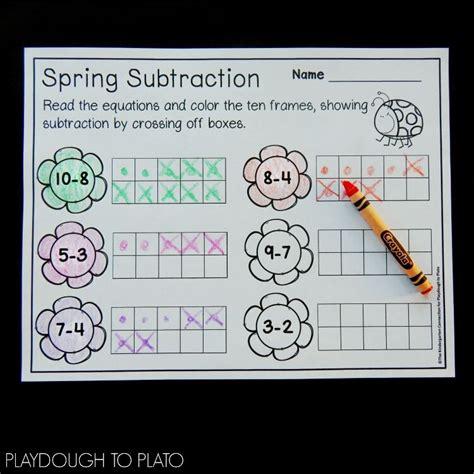 spring ten frame subtraction playdough  plato