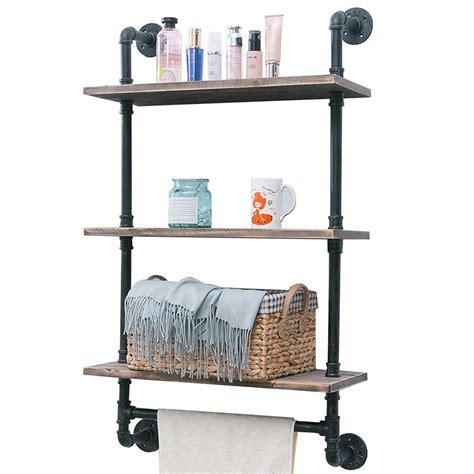 industrial pipe shelfrustic wall shelf  towel bar