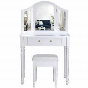 Coiffeuse Meuble Blanc : 330 01 sur coiffeuse meuble blanc table de maquillage commode avec 3 miroirs rabattables et ~ Teatrodelosmanantiales.com Idées de Décoration