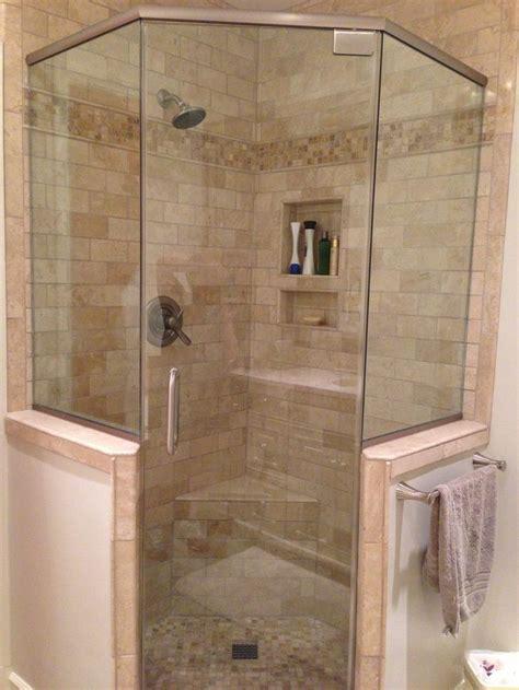 master bath glass shower  knee wall bathroom shower