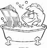 Coloring Bath Clipart Newspaper Cartoon Bathtub Tub Reading Outline Bathing Happy Pages Printable Woman Print Vector Child Getcolorings Royalty Clipground sketch template