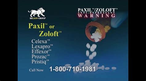 relion group tv commercial paxil  zoloft users