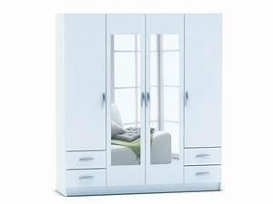 Dressing Pas Cher Conforama : armoire 4 portes 4 tiroirs spot coloris blanc chez conforama ~ Dailycaller-alerts.com Idées de Décoration
