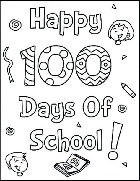 free printable 100 days of school coloring pages 100   Happy 100 Days Of School Coloring Pages Free