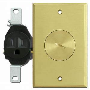 Floor mounted tamper resistant single outlets with brass for Brass cover plates floor outlets