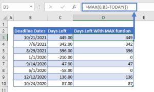 countdown days remaining  excel google sheets