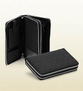 gucci black rubber ssima leather travel document case in With leather document case