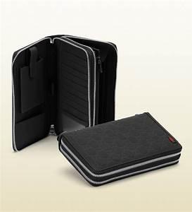 gucci black rubber ssima leather travel document case in With travel document case