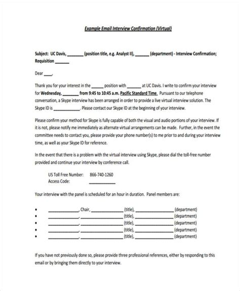 interview confirmation email 25 email exles sles pdf