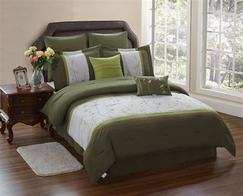 olive green bedding sets green serene on a budget - Olive Green Comforter Set