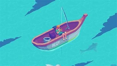 Fishing Pixel Boat Animation Kirokaze Animated Ship