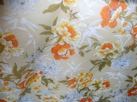 Floral Drapery Fabric by Retro Vintage Floral Print Orange Blue Sheer Drapery