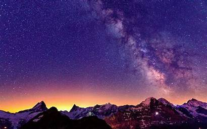 Sky Night Stars Switzerland Mountains Shot Week