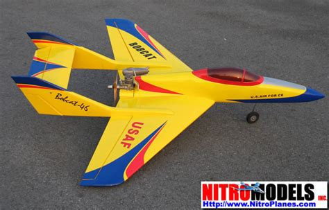 yellow usaf bobcat   nitro gas powered rc airplane