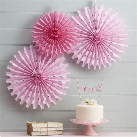 pink tissue paper fan decorations by ginger ray