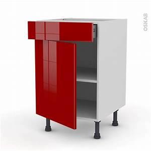 Meuble 50 Cm Largeur : meuble de cuisine bas stecia rouge porte tiroir l x h x p ~ Teatrodelosmanantiales.com Idées de Décoration
