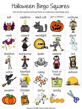 Halloween Bingo Game {create Your Own Luck} By Jason's Online Classroom