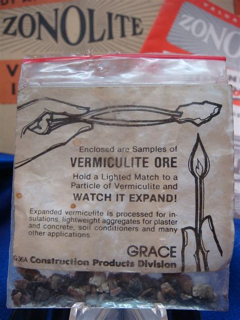 asbestos zonolite novelty small sealed labeled bag