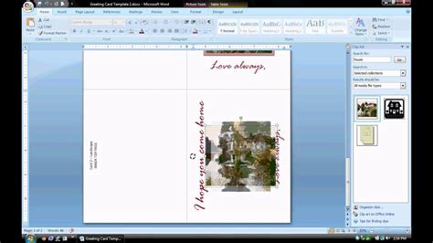 ms word tutorial part  greeting card template