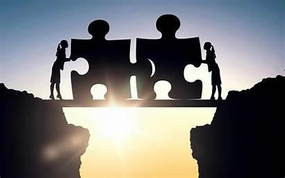 Gap Puzzle Business Connecting Silhouette Bridge Pieces