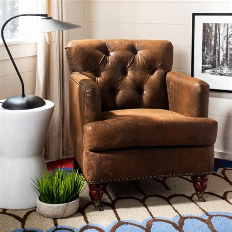 safavieh armchair safavieh colin distressed brown leather arm chair hud8212b