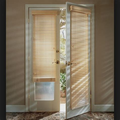 patio door wood blinds interior home decor
