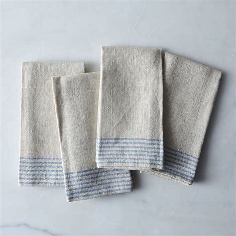 agrarian striped linen napkins set    food