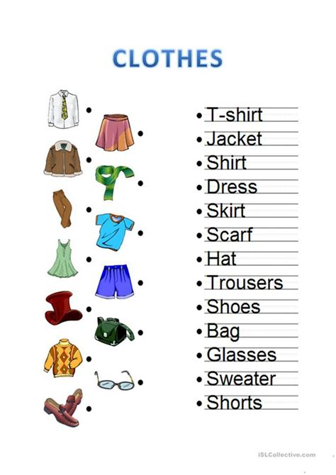 all worksheets 187 esl clothes worksheets printable