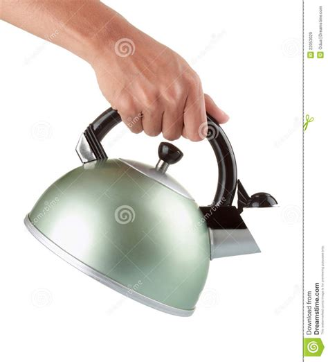 Man Holding A Chrome Kettle Stock Image   Image: 22053029