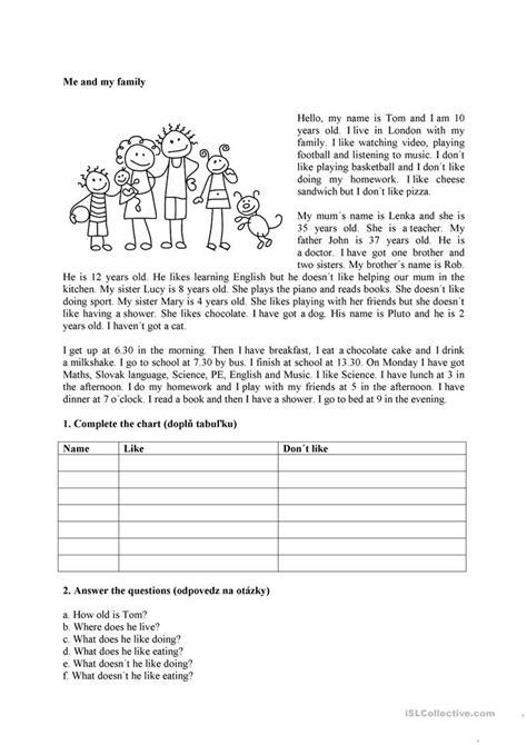 me and my family worksheet free esl printable worksheets