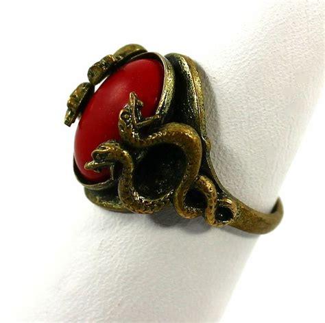 vintage  art deco egyptian revival brass snake ring