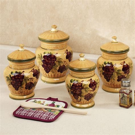themed kitchen canisters handpainted grapes kitchen canister set canisters
