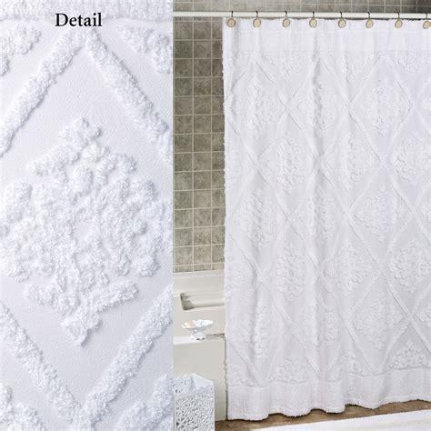 lotion dispenser white cotton chenille shower curtain