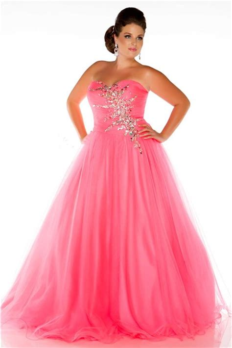 glamorous   strapless long neon coral tulle beaded