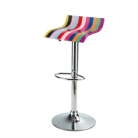 chaise multicolore chrome finish metal and acrylic plastic bar stool
