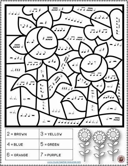Coloring Piano Pages Worksheets Notes Sheets Fall