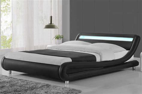 king leather headboard madrid led lights modern designer bed black faux leather