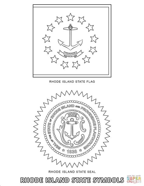 rhode island state symbols coloring page  printable