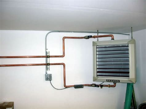 hydronic garage heater waste boiler and heater installations at construction