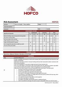 hofco risk assessment With step ladder risk assessment template
