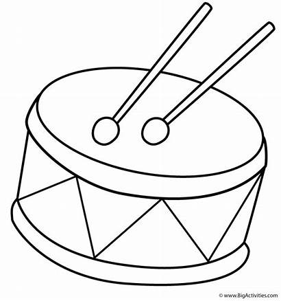 Clipart Coloring Drums Musical Drum Instruments Template