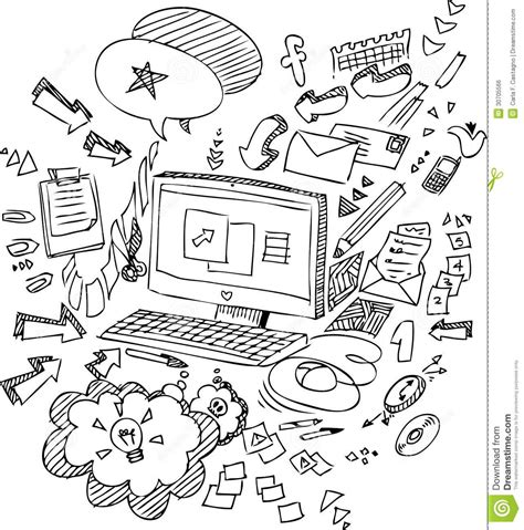 pc sketchy doodles vector stock vector illustration