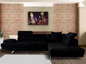 canape d39angle xl en tissu noir ou beige romain With tapis chambre enfant avec canape microfibre noir