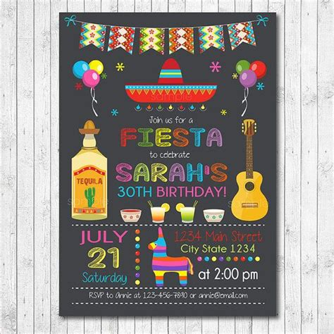 Mexican Fiesta Birthday Invitation Fiesta Invite Cinco de ...