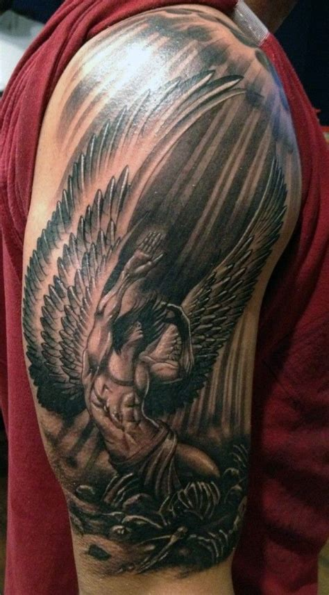 amazing black white fallen guardian angel tattoo  man