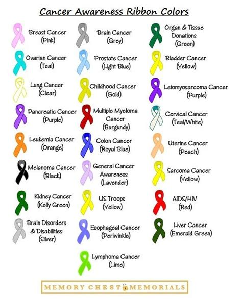 awareness color cancer awareness ribbon colors show your support my