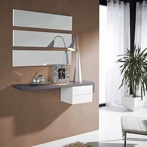 meuble dentree contemporain table de lit With wonderful meuble entree avec miroir 6 console entree contemporaine miroir style scandinave bois