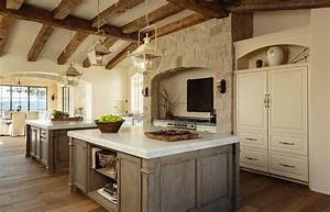 mediterranean kitchen with rustic wood ceiling beams With what kind of paint to use on kitchen cabinets for stone wall hanging art