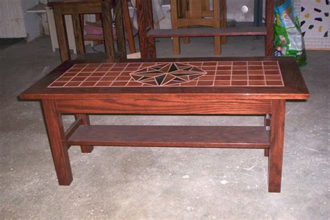 wooden table with tile top wood tile top coffee table by otis501 lumberjocks com